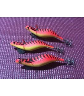 Pez artesano Paloma XL 9cm rojo rayas / barriga amarilla.