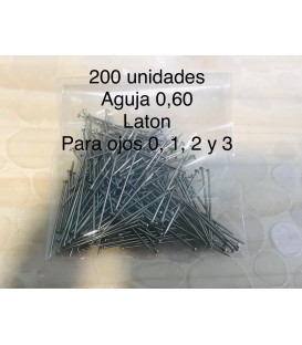 Aguja de latón 0.60 - 200 unidades.