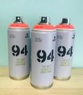 Pintura spray Montana 94 400ml rojo flúor.