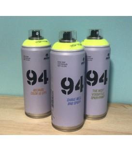 Pintura spray Montana 94 400ml amarillo flúor.