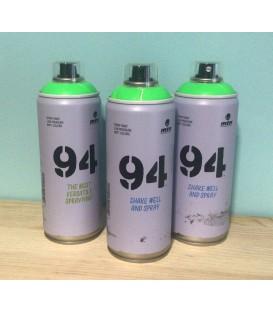 Pintura spray Montana 94 400ml verde flúor.