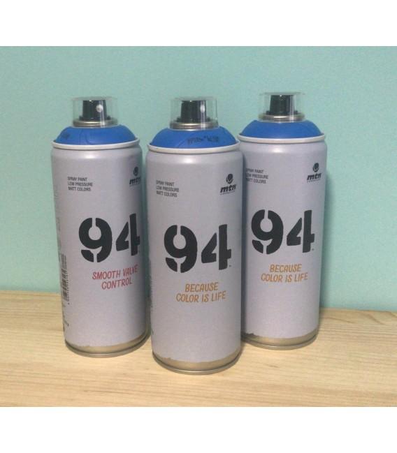 Pintura spray Montana 94 400ml azul flúor.