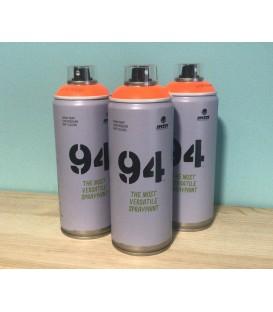 Pintura spray Montana 94 400ml naranja flúor.