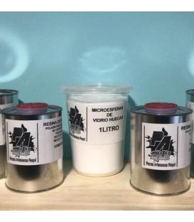 Pack resina (500gr A + 500gr B) + 1 litro de microesferas.
